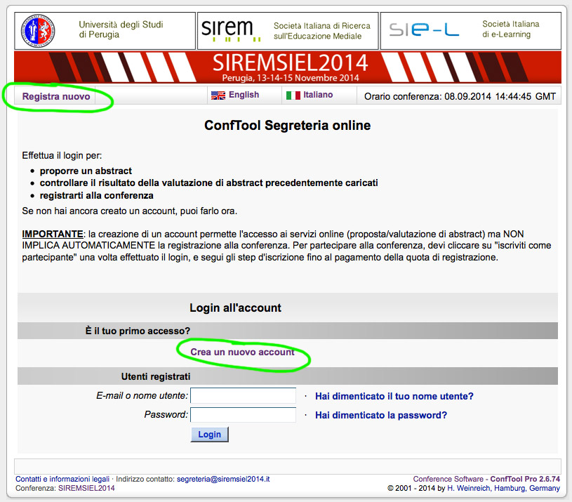 come registrarsi a siremsiel2014